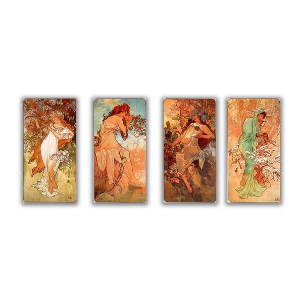 Sada štyroch obrazov Alfons Mucha Four Seasons, 30x80 cm