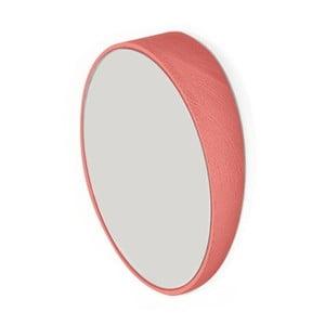 Červené nástenné zrkadlo z bukového dreva HARTÔ, Ø20,5 cm