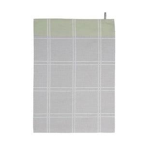Zelená-sivá kuchynská utierka Södahl Check, 50 x 70 cm