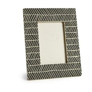 Čierny keramický fotorámik Simla Fishbone, 23 × 18 cm