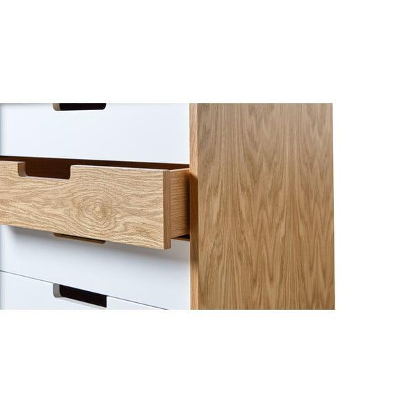 Biela komoda s drevenými detailmi Woodman Chaser