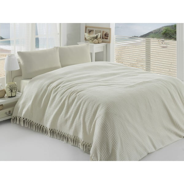 Krémový ľahký bavlnený pléd cez posteľ na dvojlôžko Pique, 220×240cm