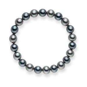 Antracitová-strieborný perlový náramok Mystic, 19 cm