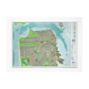 Zelená magnetická mapa San Francisca The Future Mapping Company Street Map, 100×70cm