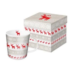 Porcelánový hrnček s vianočným motívom v darčekovom balení PPD Magic Christmas Taupe, 350 ml