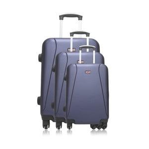 Sada 3 modrých cestovných kufrov na kolieskach Hero Bobby