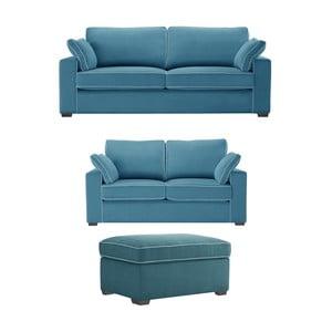 Trojdielna sedacia súprava Jalouse Maison Serena, modrá