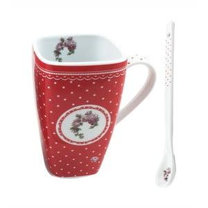 Červený porcelánový hrnček s lyžičkou HOME ELEMENTS De Campagne Pois, 600 ml
