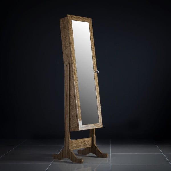 Uzamykateľné stojacie zrkadlo so šperkovnicou Lavinia, olivové