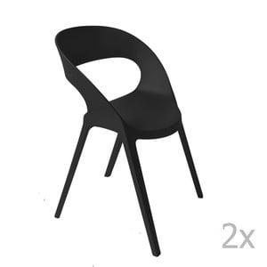 Sada 2 čiernych záhradných stoličiek Resol Carla