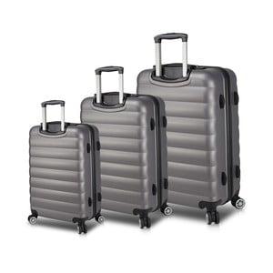 Sada 3 sivých cestovných kufrov na kolieskach s USB porty My Valice RESSO Travel Set