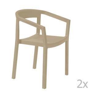 Sada 2 béžových záhradných stoličiek sopierkami Resol Peach