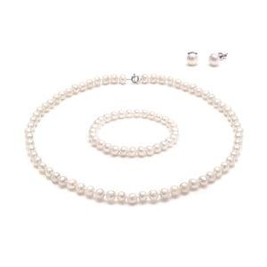 Set bielych perlových šperkov GemSeller Cava