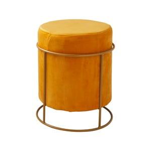 Žltý čalúnený puf Native Stack, ⌀37 cm