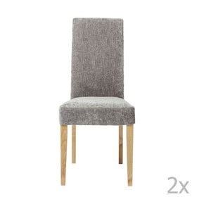 Sada 2 tmavosivých jedálenských stoličiek s drevenou podnožou Kare Design Shine