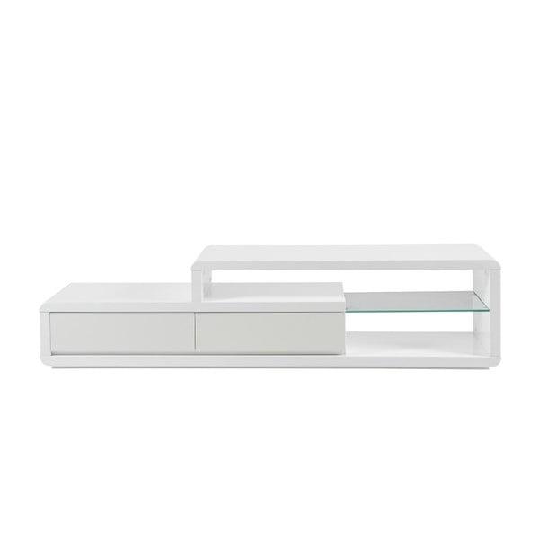 Biely TV stolík s policou s LED podsvietením Actona Eran
