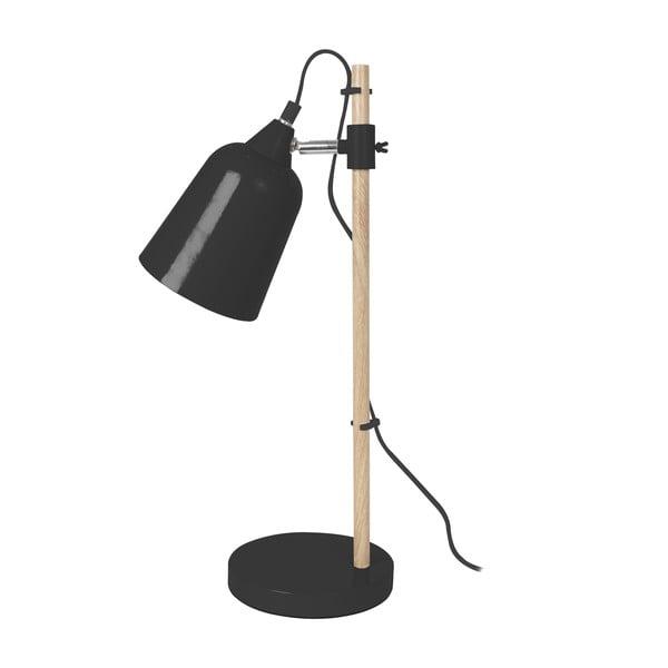 Čierna stolová lampa Leitmotiv Wood