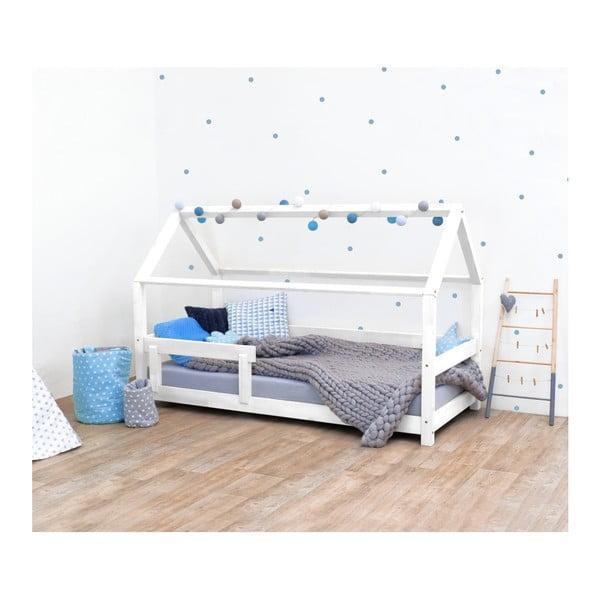 Biela detská posteľ s bočnicami zo smrekového dreva Benlemi Tery, 90×160 cm