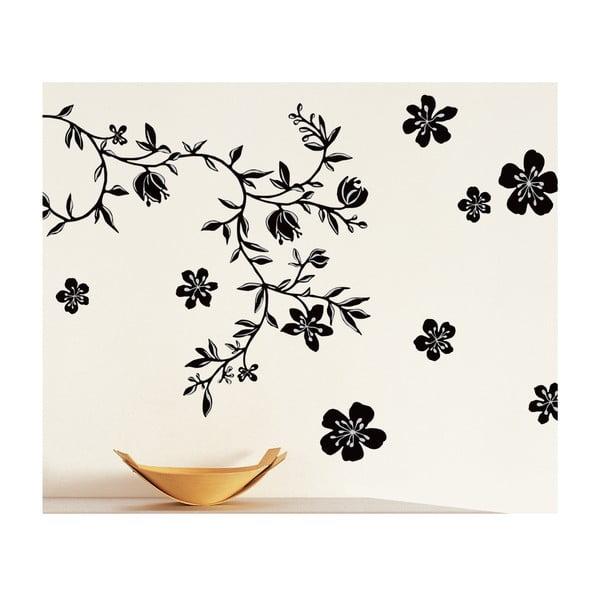 Samolepka na stenu čierne kvetiny