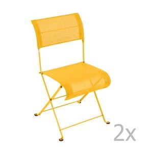 Sada 2 žltých skladacích stoličiek Fermob Dune