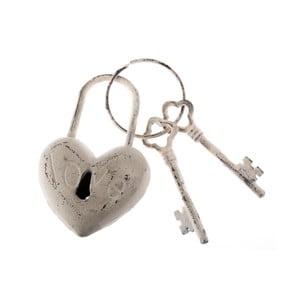 Biele dekoratívne liatinové kľúče Dakls Heart Rustico