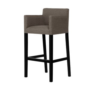 Gaštanonovohnedá barová stolička s čiernymi nohami Ted Lapidus Maison Sillage