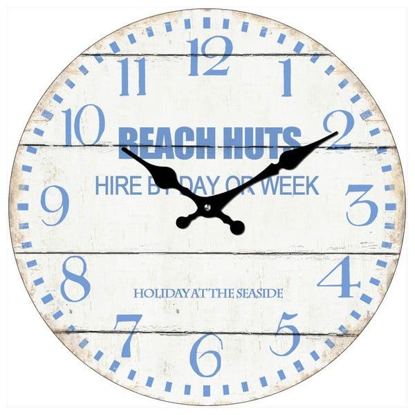 Sklenené hodiny Beach Huts, 34 cm