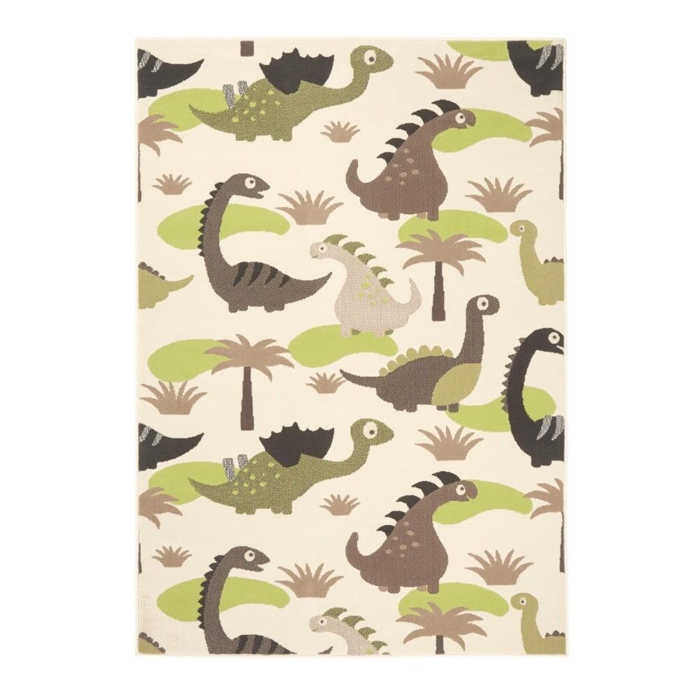 Detský zeleno-hnedý koberec Zala Living Dino, 140 × 200 cm