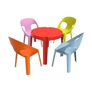 Detský záhradný set 1 červeného stola a 4 stoličiek Resol Julieta