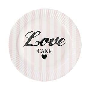 Sada papierových tanierov Miss Étoile Rose Stripe, 8 ks