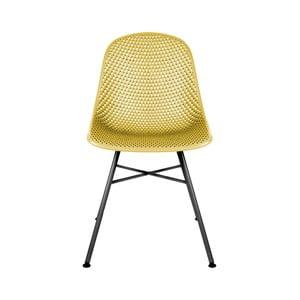 Žltá jedálenská stolička Leitmotiv Diamond Mesh