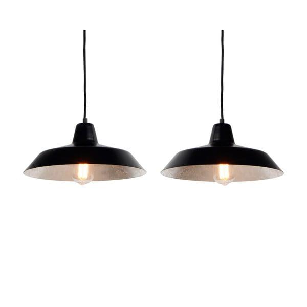 Sada dvoch stropných lámp Cinco, čierna/strieborná