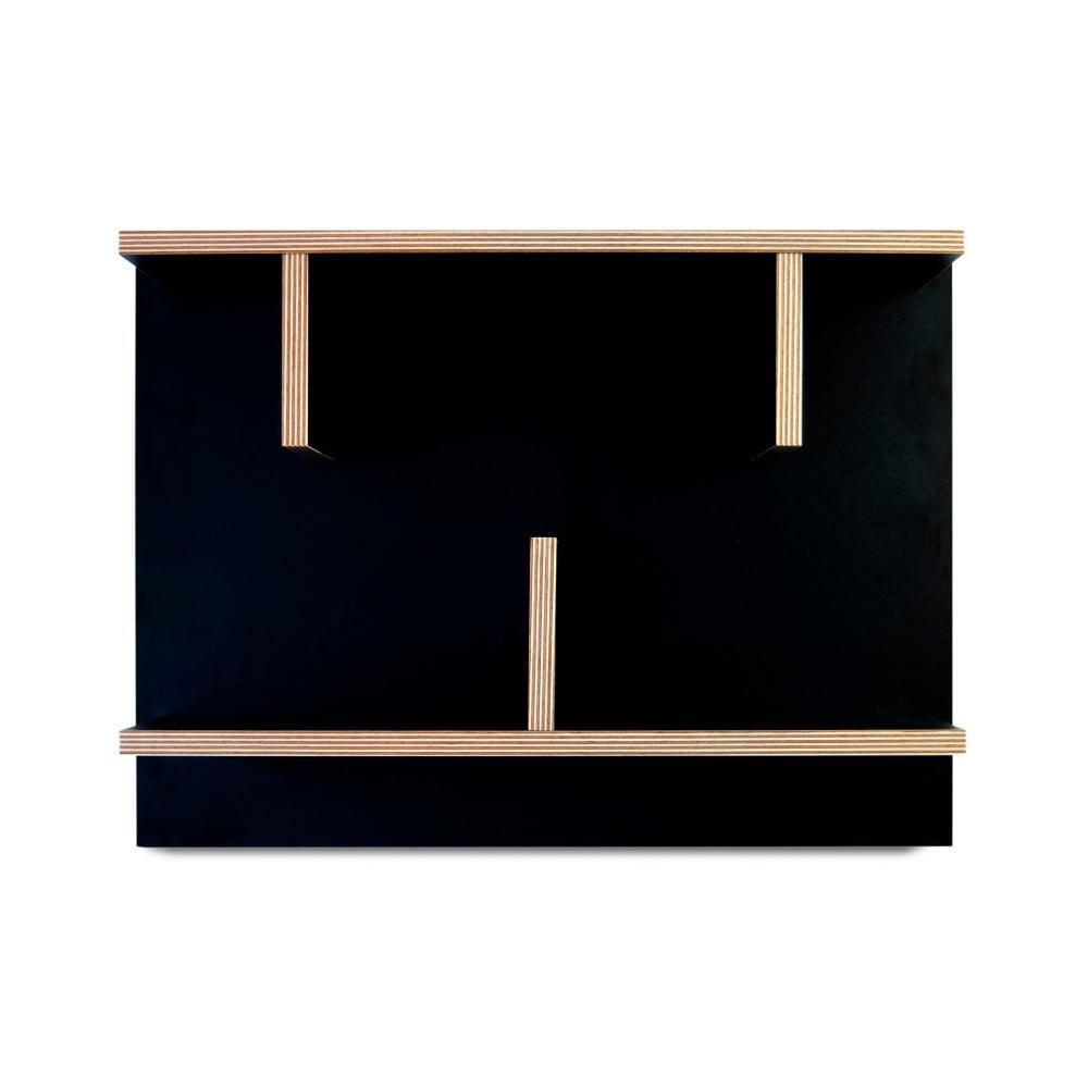 Čierny nástenný policový systém TemaHome Bern, 60 cm