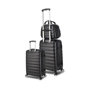 Sada 2 čiernych cestovných kufrov na kolieskach s USB porty a príručného kufríka My Valice RESSO Cab Med & MU