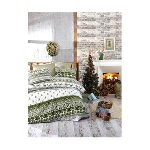 Vianočné bavlnené obliečky na jednolôžko s plachtou Alice, 160×220 cm
