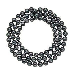 Perlový náhrdelník Muschel, antracitové perly 8 mm, dĺžka 80 cm