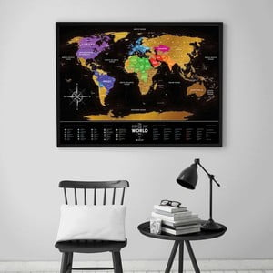 Stieracia mapa sveta Scratch Map of the World Black