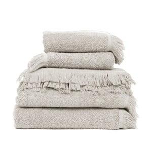 Set 2 béžových bavlnených osušiek a 6 uterákov Casa Di Bassi