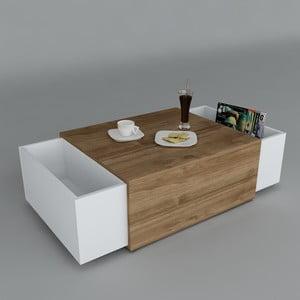 Konferenčný stolík Volume White/Walnut, 61x110x31 cm