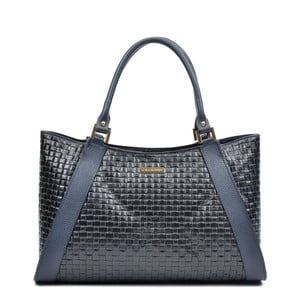 Modro-čierna kožená kabelka Luisa Vannino Maya