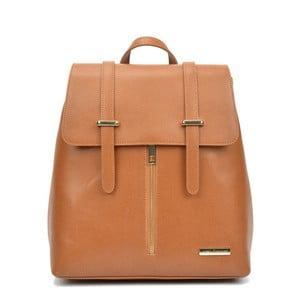 Koňakovohnedý kožený batoh Sofia Cardoni Backon