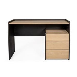 Pracovný stôl z borovicovéro a dubového dreva s 3 zásuvkami Askala Tramonto