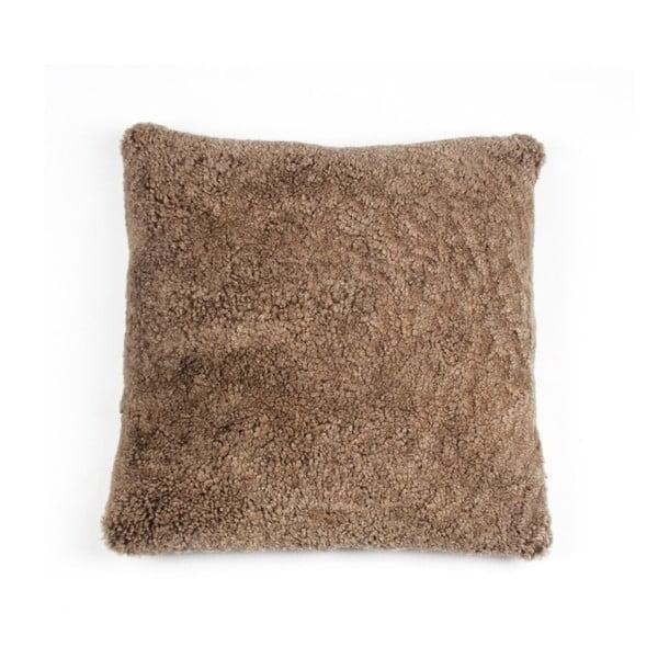 Kožušinový vankúš Curly Brown, 35x35 cm