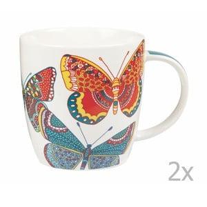 Sada 2 hrnčekov Churchill China Paradise Butterflies, 390 ml
