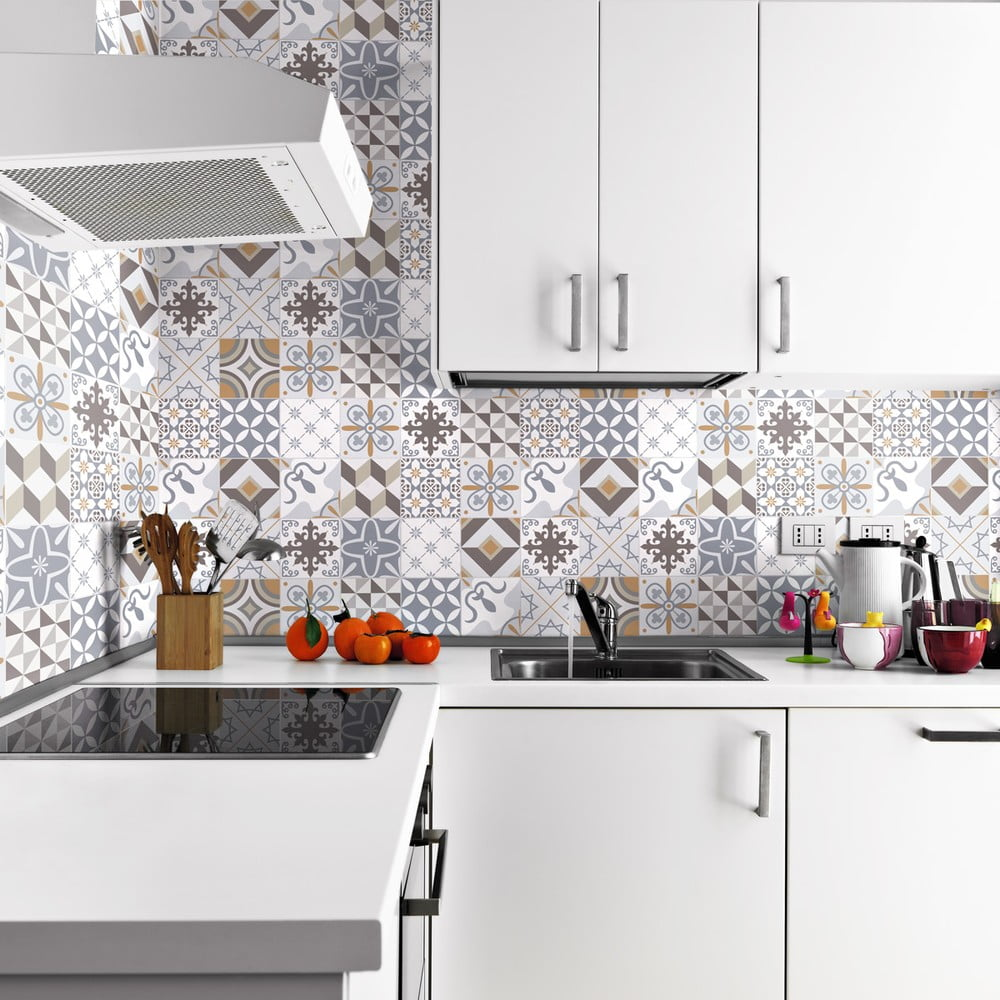 Sada 24 nástenných samolepiek Ambiance Wall Decals Traditional Beige Tiles, 20 × 20 cm
