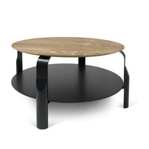 Čierny konferenčný stolík s doskou v dekore orechového dreva TemaHome Scale