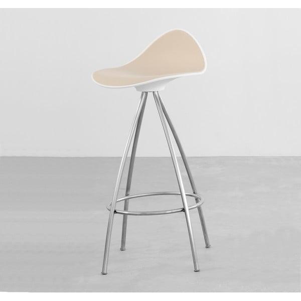 Béžová stolička s chrómovanými nohami Stua Onda, 76 cm