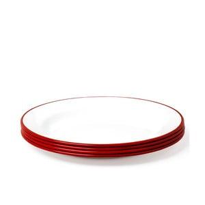 Sada 4 červeno-bielych smaltovaných tanierov Falcon Enamelware