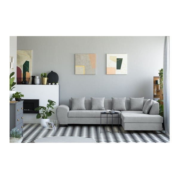 Sivá rohová rozkladacia pohovka s úložným priestorom Kooko Home XL Right Corner Sofa Piano