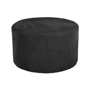 Čierny menčestrový puf Leitmotiv Glam, 50×30cm